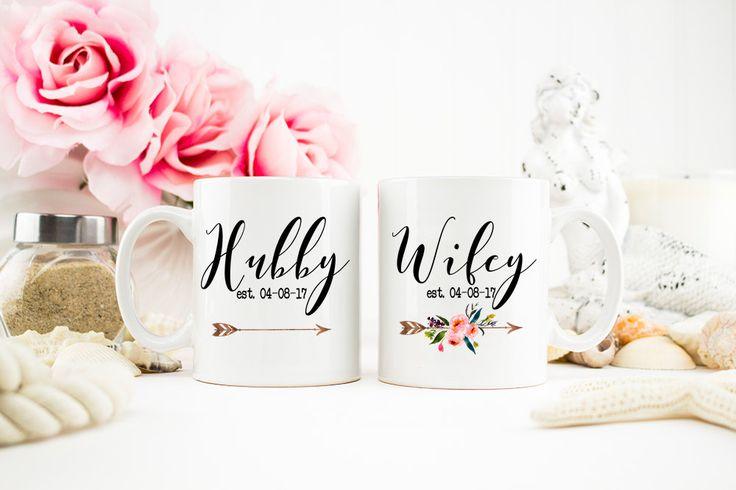 Hubby and Wifey Mug, Wifey Gift, Hubby Mug, Mr and Mrs, Wedding Gift, Honeymoon Mugs, Hubby Wifey mugs, Bridal Shower Gift, Mug Set, AAA_001 by WeefersGifts on Etsy