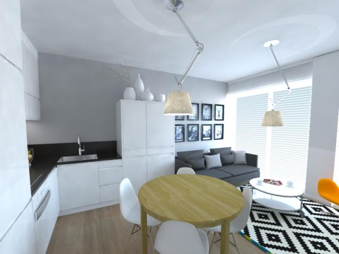 Wykonawcy - wykonanie, Kuchnia w trzech odsłonach - Trzy koncepcje kuchni połączonej z salonem w małym mieszkaniu przeznaczonym pod wynajem. Ostatecznie do realizacji została wybrana wersja z...