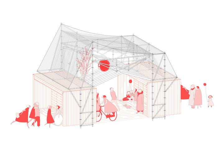 Information Point in Glorias Square | Isometry | Architectural representation | Ephemeral Architecture