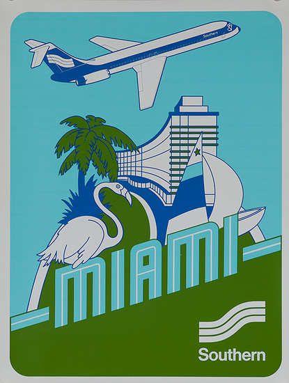 DP Vintage Posters - Southern Airways Original Travel Poster Miami