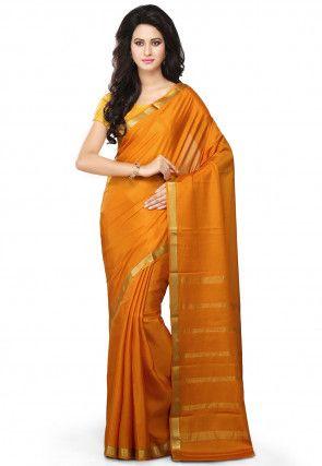Pure Mysore Silk Saree in Mustard