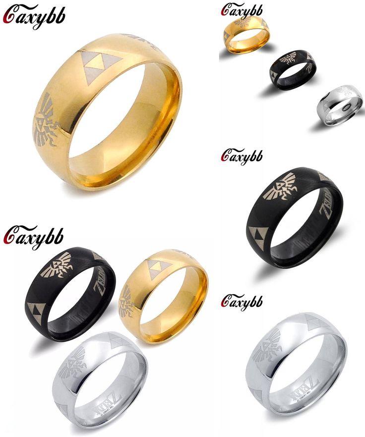 [Visit to Buy] Cosplay Juego The Legend of Zelda Enlace anillos de acero de titanio anillo de 3 colores, Puede Dropshipping #Advertisement