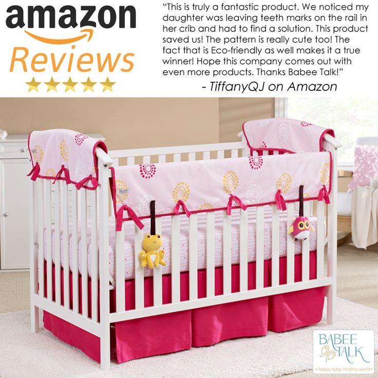 """""""This is truly a fantastic product. We noticed my daughter was leaving teeth marks on the rail in her crib and had to find a solution. This product saved us! The pattern is really cute too! The fact that is Eco-friendly as well makes it a true winner! Hope this company comes out with even more products. Thanks Babee Talk!"""" Thanks, Tiffany! #babeetalk #fans #love"""