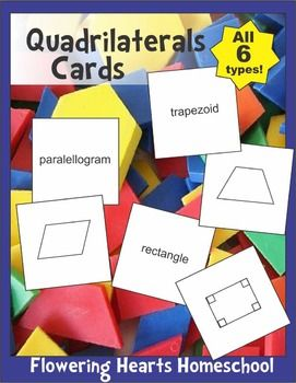 These cards can be used in several different ways to sort and learn about the different types of four-sided geometric shapes.  Print a set onto card stock and you have a matching game, which can also be used for memory. For introducing these shapes and their names to students, print out two copies of the first page for recognition.
