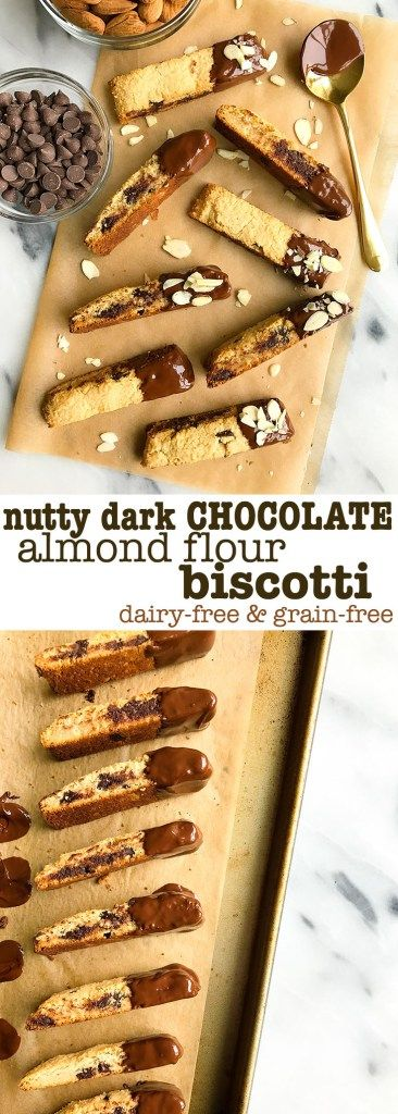 Nutty Dark Chocolate Almond Flour Biscotti! Vegan, grain free, gluten free and SO easy to make. A deliciously healthy mandel bread and biscotti cookie that is made with fresh almond flour, dipped in dark chocolate.