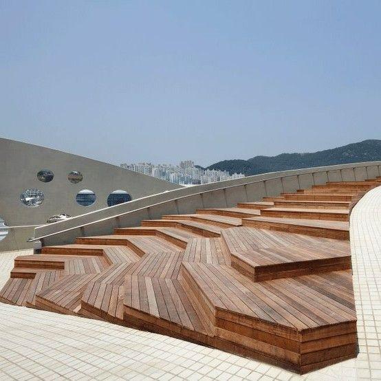 Wooden steps and seats. Public Landscape Architecture (not quite a building)