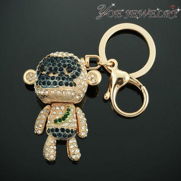 Тенденция бренд пара брелки прекрасный обезьяна горный хрусталь брелок женская золото ключница пряжка.
