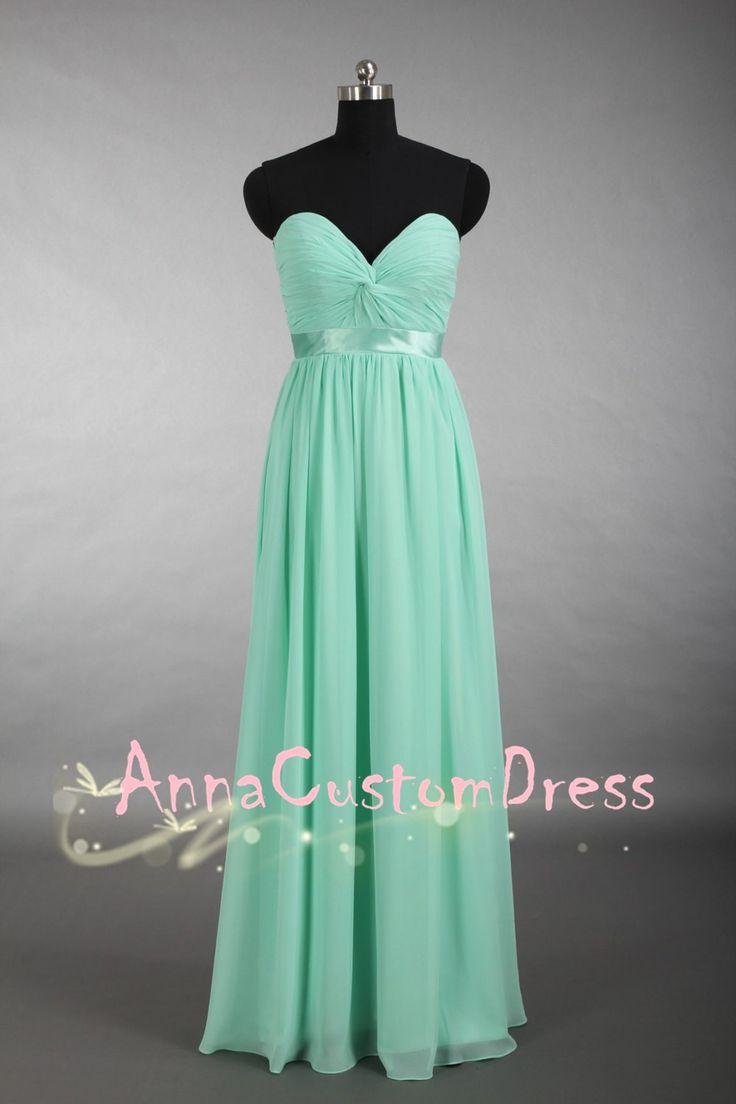 Deep Sweetheart Long Mint Chiffon Bridesmaid Dress