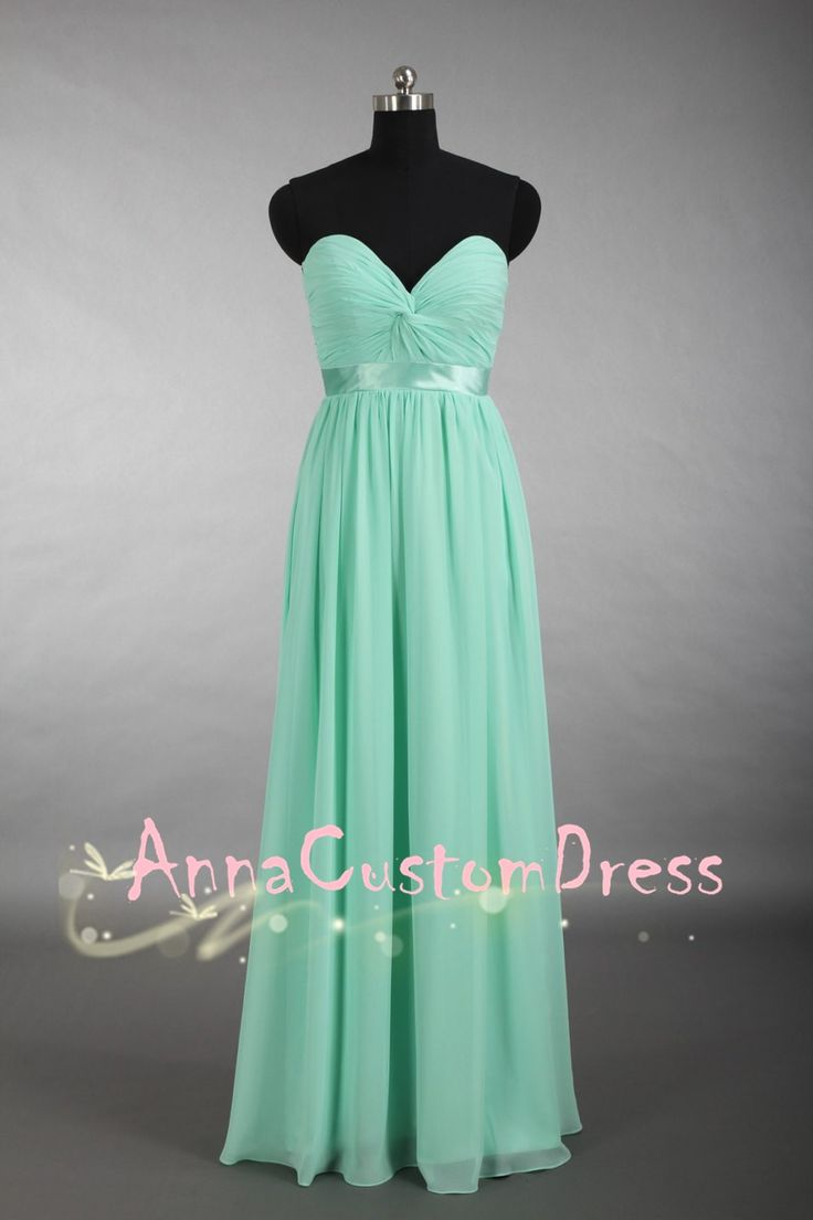 26 best images about mint bridesmaid dress on pinterest one deep sweetheart long mint chiffon bridesmaid dress ombrellifo Image collections