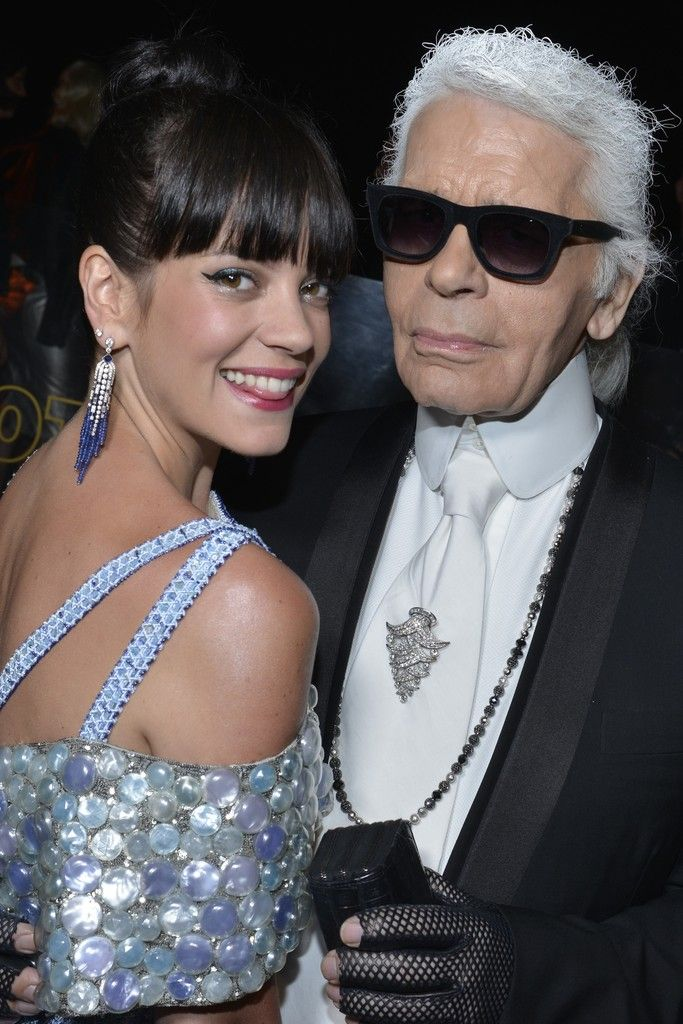 Lily Allen and Karl Lagerfeld [Photo by Stéphane Feugère]