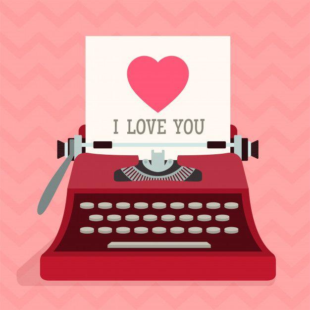 Maquina De Escribir Con Corazon De Amor Premium Vector Freepik Vector Corazon Amo Maquina De Escribir Maquina De Escribir Dibujo Tarjetas Para Diario