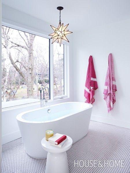White Bathroom With Fuchsia Accents