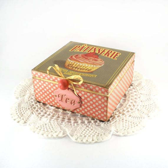French Patisserie Cupcake box / Box for tea, coffe or spices, vintage look decoupage,gift for mom . on Etsy, $45.00