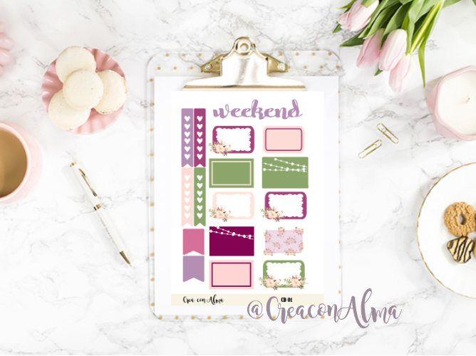 Pegatinas decorativas para agenda, diario o scrapbooking. Planner stickers. de CreaConAlma en Etsy