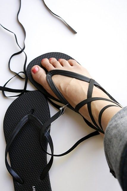 DIY strappy flip-flops. Would be even nicer if the original straps were replaced with elastics too.