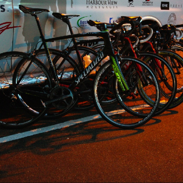 Some Specialized RH Accent Inns race bikes lined up! photo by Steven Grandy
