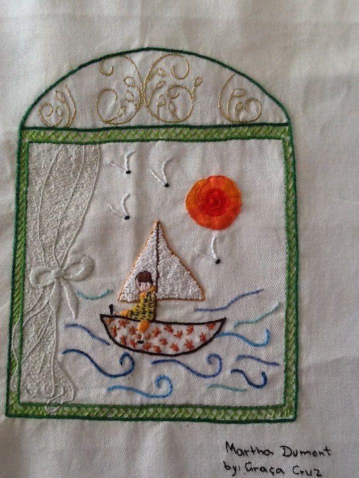 janela, desenho de Martha Dumont, bordado de Graça Cruz