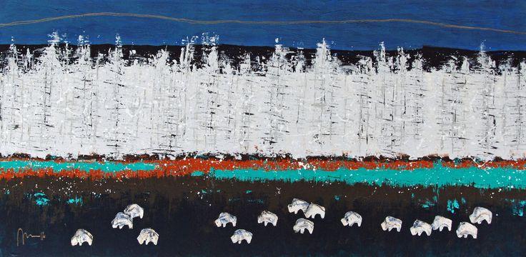 On the Road Again Lyrisch abstract materie-schilderij met een voorspelling van Amerikaanse Indianen als inspiratiebron. Volgens deze voorspelling is de geboorte van een witte buffalo een teken dat er (wereldwijde) veranderingen zullen plaatsvinden. Er worden momenteel nogal wat witte buffalo's geboren. Marcelle van Dijck-Heitzer