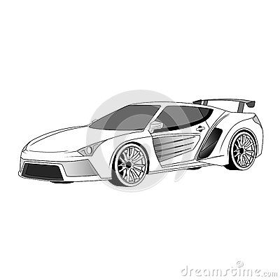 Illustration of concept car with spoiler and custom velg