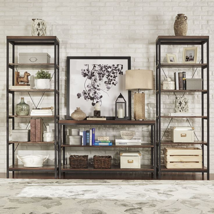 Stylish, sleek and practical, this elegant rustic bookcase is a welcome addition to any contemporary home. Suitable for a variety of color schemes, this neutral bookcase is made of metal, MDF and birc