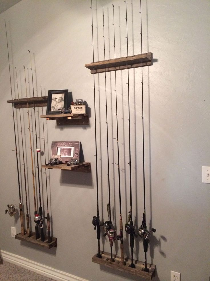Rustic home decor Fishing pole holders built by my husband