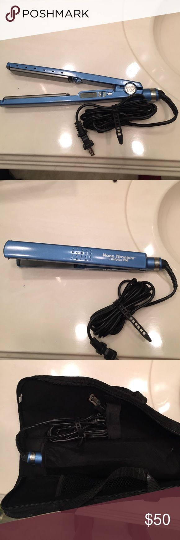 Babyliss Nano Titanium Straightener As the title says Babyliss Nano Titanium Straightener. Never used because I don't straighten my hair. Comes with a babyliss bag Babyliss Other