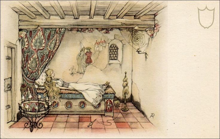 Anton pieck - Kasteel doornroosje kamer interieur