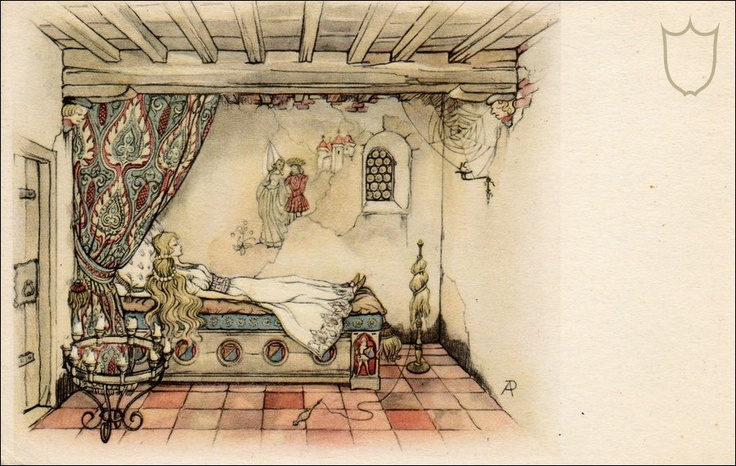 Anton pieck - Kasteel doornroosje kamer interieur.He was the designer of a Dutch park with lots of fairy tale figures. called ..The Efteling.