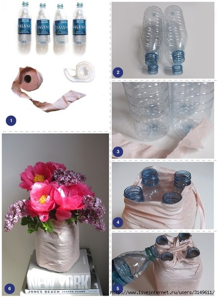 Diy turn plastic water bottles into a flower stem vase for Plastic bottle vase craft