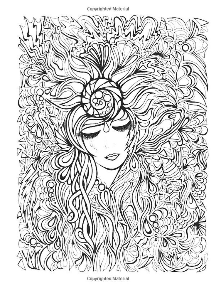 intricate design coloring pages of woman face and flower