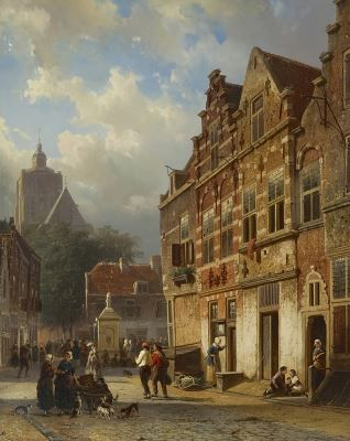 Cornelis Springer (1817-1891) The 'Koopmanstraat' and Market, Brielle, oil on panel. Collection Simonis & Buunk, The Netherlands.