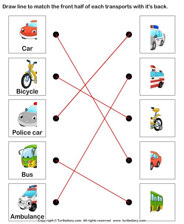Land Transport Match The Parts Answer Mickey Coloring Pages Ela Worksheets Study Tools Water transport worksheets for
