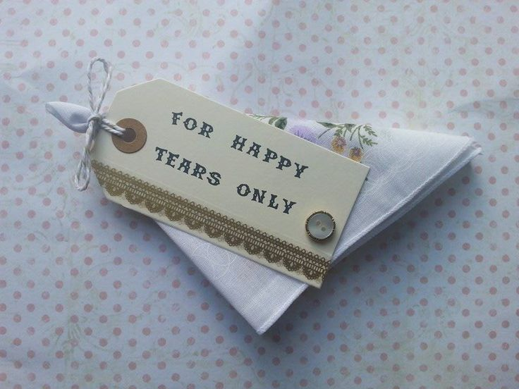 wedding handkerchief favour with floral hankie reads for happy tears only with gold lace detail by maxollieandme on Etsy