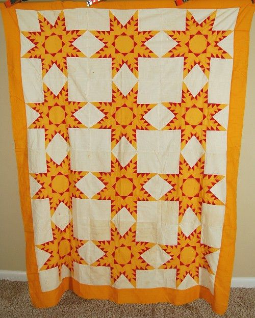 OUTSTANDING Vintage 1880s Turkey Red & Cheddar Feathered Stars Antique Quilt Top