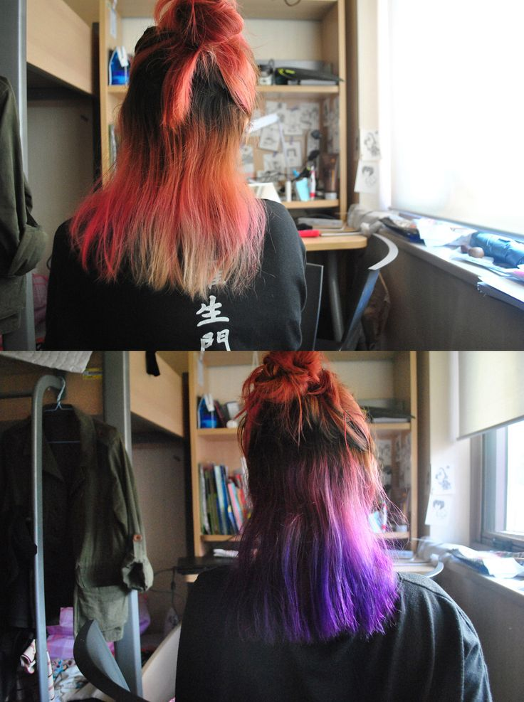 before & after. faded pink and purple hair. ERC hair color cream - Purple. October 3rd, 2013.