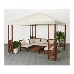 IKEA - ÄPPLARÖ, Gazebo, The fabric gives excellent protection against the sun's UV rays as it has a UPF (Ultraviolet Protection Factor) rating of 45+, which means it blocks almost 98% of the ultraviolet radiation.The air vent reduces wind pressure and allows heat to circulate.Easy to keep clean and fresh as the fabric can be removed and machine-washed.