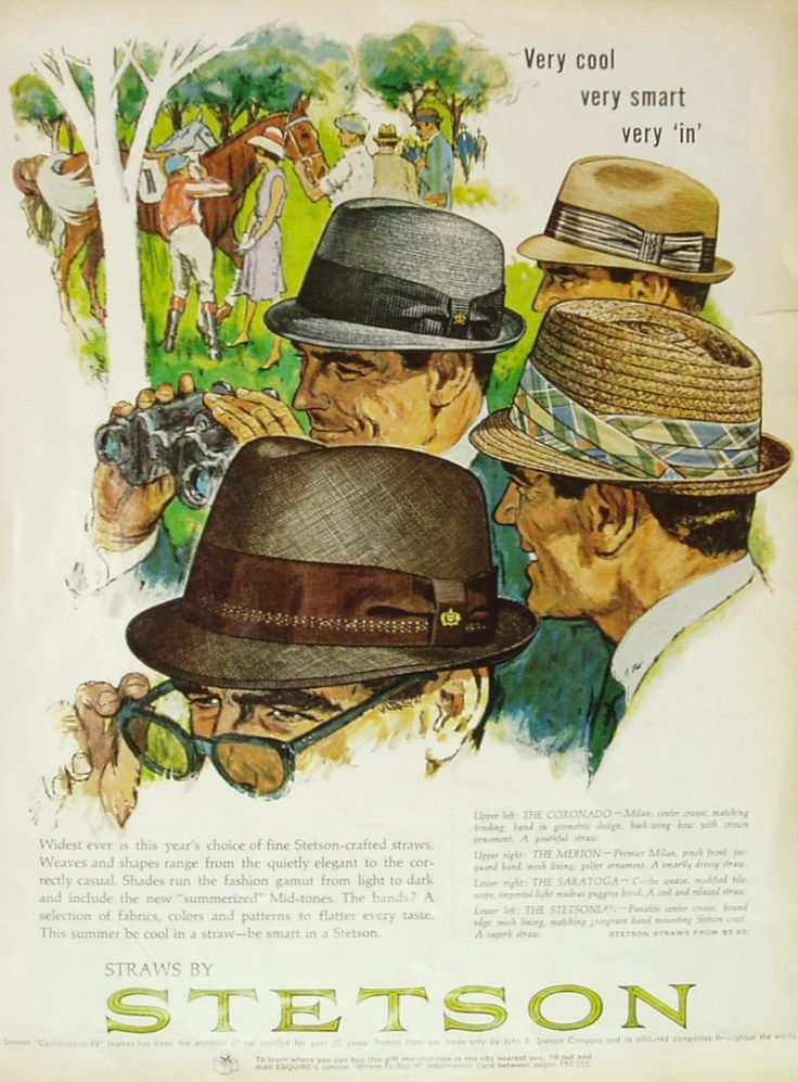 1960-70 Be cool in straw - be smart in STETSON This very cool Stetson summer starw tribly hats ad shows shapes from the quietly elegant to the correctly casual to flatter every taste.