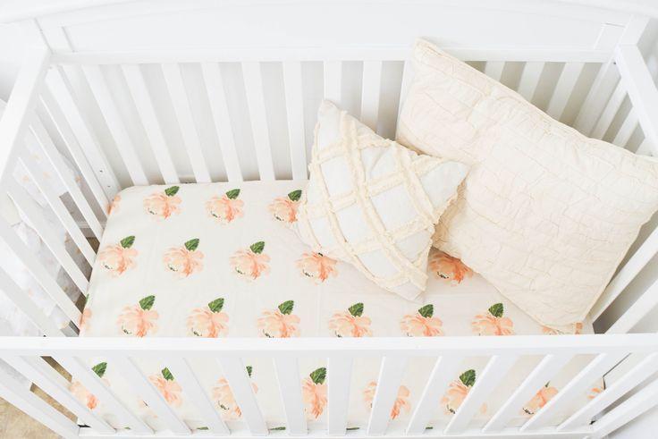 Peach on Cream Farmhouse Floral Baby Bedding
