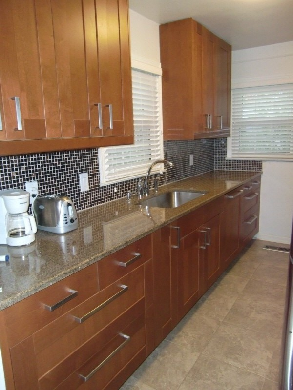 Our small galley kitchen we renovated love ikea cabinets for Small kitchen granite countertops