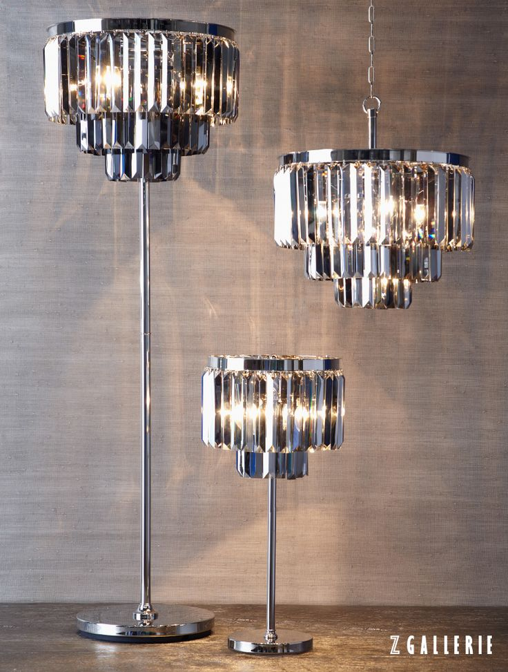 Graphite luxe crystal collectionchandelier floor and table lamp