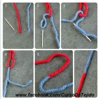 Draad aan elkaar maken zonder knopen en achteraf afwerken. Bekijk ook het filmpje met de magic knot. Wel een klein knoopje, maar vast is vast.