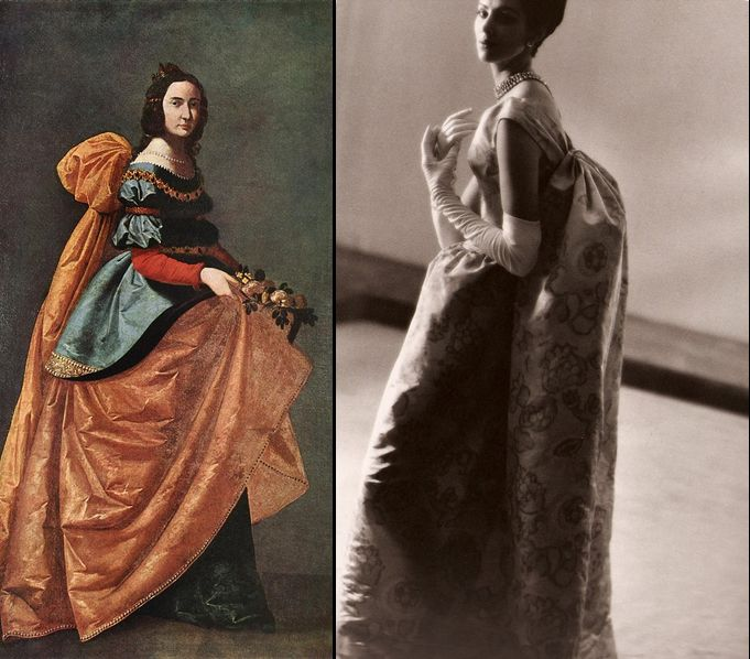 A dress in pink and violet printed faille by Abraham, summer 1961. The inspiration for this dress was the painting of St. Casilda, (1630-1645) by Francisco de Zurbaran