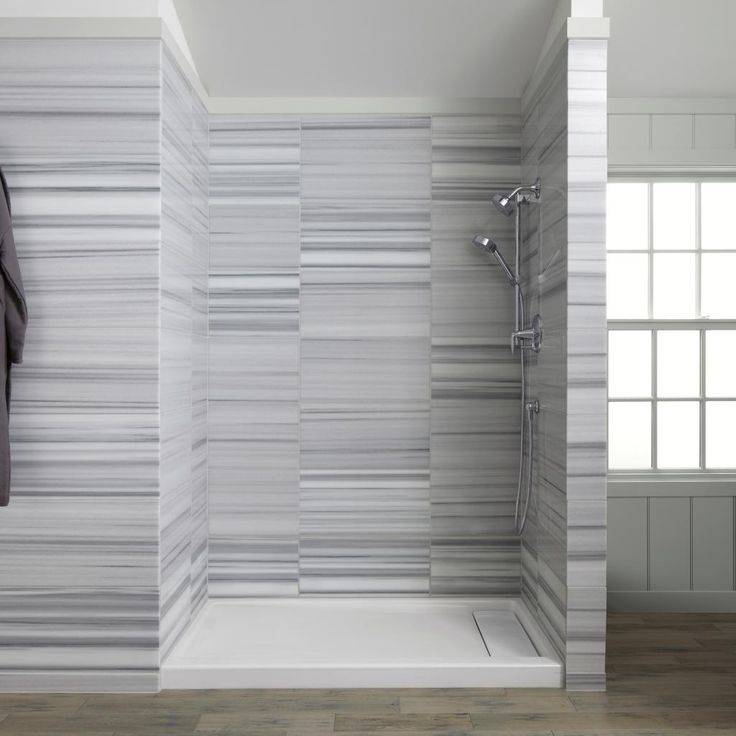 Bathroom, : Casual Modern White Grey Bathroom Decoration Using Light Grey  Stripe Tile Bathroom Wall Including Solid Oak Wood Laminate Bathroom  Flooring And ... Part 79