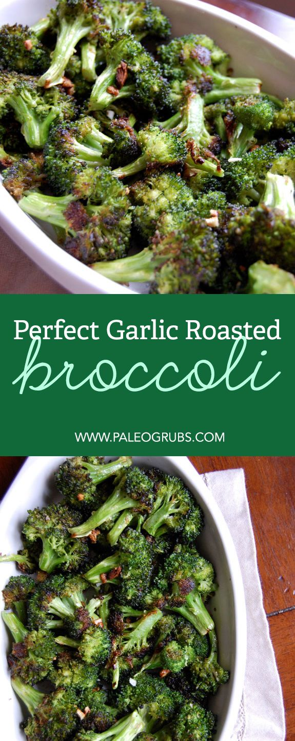 Preheat the oven to 400 degrees F. In a large bowl, toss the broccoli with olive oil, salt, black pepper and garlic. Spread the broccoli in a single layer on a rimmed baking sheet. Bake until florets are tender enough to pierce with a fork and the edges are browning, about 15 minutes.
