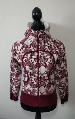 Lululemon Remix Scuba Hoodie Size 6 Burgundy Paisley Yoga Sweater Jacket