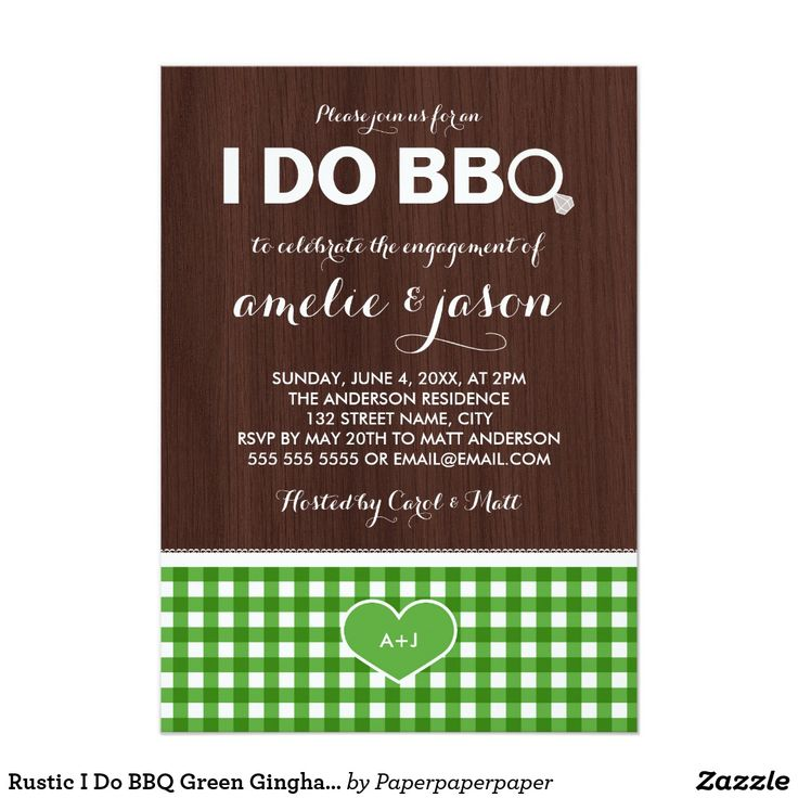Rustic I Do BBQ Green Gingham Engagement Party Card