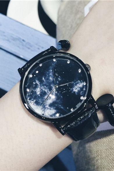 Galaxy Pattern Leather Quartz Watch - Beautifulhalo.com