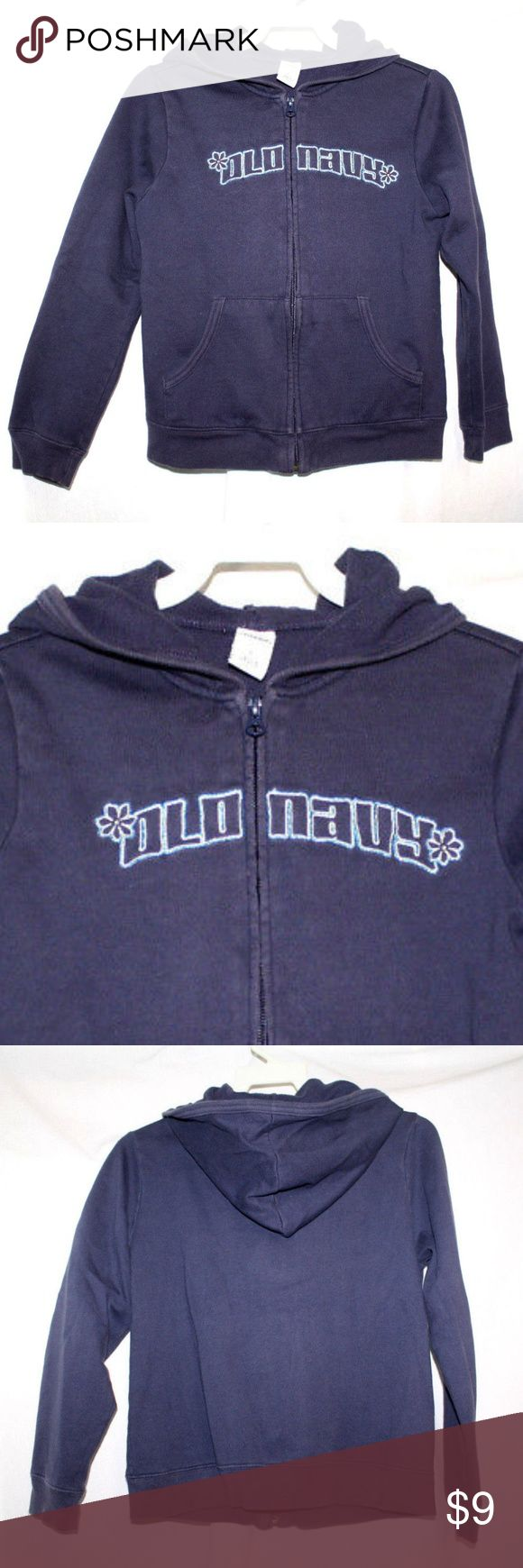 Old Navy Girls Size Large Navy Blue Sweat Jacket Old Navy Girls Size Large Navy Blue Althletic Sweat Jacket Full Zip Spell Out.  Hooded jacket in a lightweight fleece made of 80% Cotton and 20% Polyester.  Kangaroo pocket and ribbing at cuff and hem.  'Old Navy embroidered in shiny blue and white thread.  Flat lay measurements are:  Chest:     17 inches Sleeve:    19 inches Length:    18 1/2 inches Old Navy Sweaters