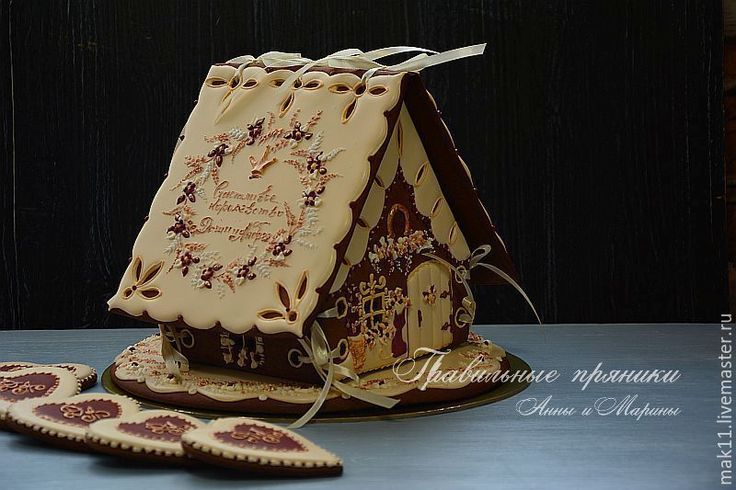 """Купить Свадебный пряничный домик """"Романтическая пара в золотом"""" - пряничный домик, свадебный подарок"""
