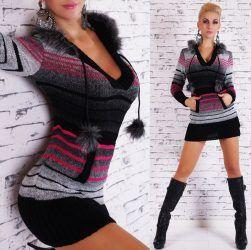 Fekete/rózsaszín vastag kötött pulóver